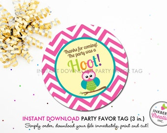Bright Chevron Owl - Printable 3 inch Birthday Party Favor Tags - Instant Download PDF File