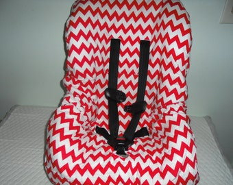 Chevron red and white toddler car seat cover