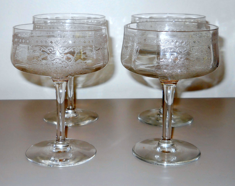 Antique Etched Wine Glasses