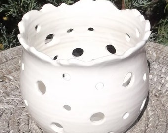 White Luminary - Tea Bag Holder - Visit shop for more Handmade Pottery