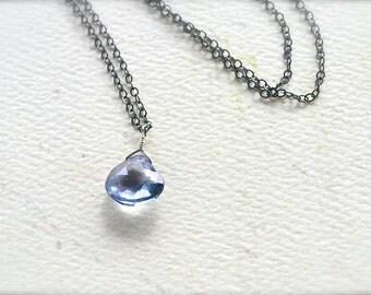Azure Necklace - mystic quartz necklace, blue gemstone necklace, oxidized silver necklace, mystic quartz necklace, bridesmaid jewelry, OS10