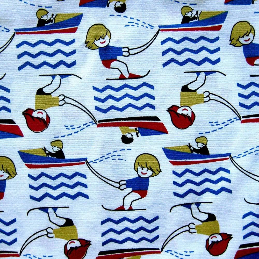 Vintage novelty print fabric children 39 s print water for Vintage childrens fabric prints