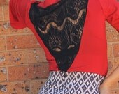 Red Black Lace Top, Jersey Knit Top, Cowl Neckline, V- Back, Short Sleeve, Fitted Body, Black Lace, Made in Australia