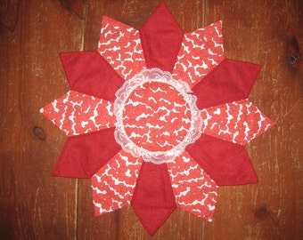 """Quilted Dresden Plate Table runner, or center piece calicoes,Red, lovers style, 21"""" across"""