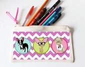 Boston Terrier Pencil Case With Chihuahua & Pug, Dog