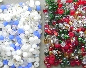 BEADS, CZECH, Christmas, 6/0 , Rocailles,GLASS, Seed,  6/0, Spacer,  Mix, 36 Inch, Crystal, I