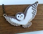 Barred Owl wood charm necklace