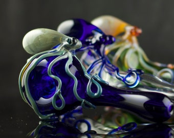 Octopus Glass Spoon Pipe Hand Blown Thick Wall in YOU CHOOSE the COLOR, Made to Order