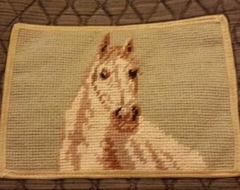 White horse needlepoint quilted handbag purse