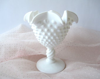 Vintage Fenton Milk Glass Hobnail Jelly Dish, Wedding Decor