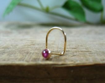 14k Gold Filled Nose Screw 3mm Pink Tourmaline - Screw Hook, Gemstone Nose Screw, Gold Nose Screw, Gemstone Nose Stud,22gauge, 20gauge