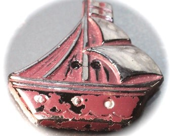 Button ~ Old Realistic Blk Glass Button Sew Thru - Medium