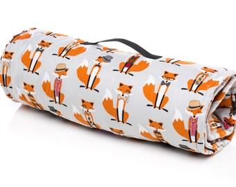Fox Toddler nap mat,Boy sleeping mat, Day Care, Fox Hat Bowties, Minky Blanket and Pillow, preschool mat back to school supplies