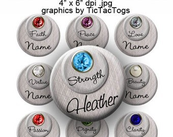 Editable - Birthstone & Meanings Silver Tone Bottle Cap Images - Instant Download - BC454