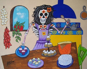 """Day Of The Dead """"The Baker"""" 8""""x10""""  Art Print Poster Mexican Folk Artist J Ellison More sizes available"""