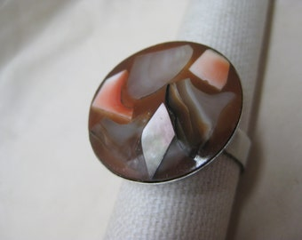 Abalone Rust Coral Silver Ring Adjustable Vintage