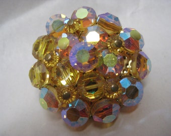 Gold Yellow Aurora Cluster Brooch Vintage Pin Glass
