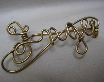 Inge Gold Brooch Wire Name Vintage Pin