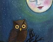 Art Print - Moon & Owl by Deanna Hogan, 9 X 12