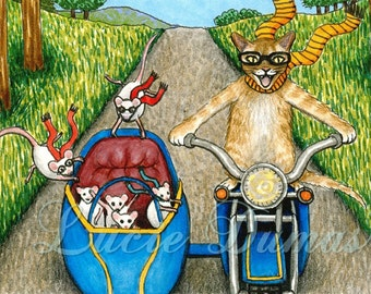Laminated Fridge Magnet Print ACEO Cat 384 mice motorcycle from art painting by L.Dumas
