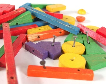 Vintage Wood and Nails Construction Game Replacement Set