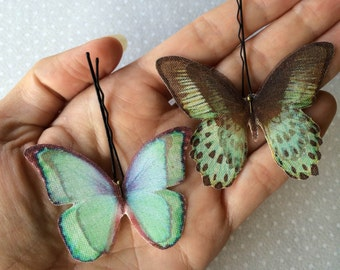 Handmade Butterfly Hair Bobby Pins in Aqua and Black Cotton and Silk Organza Fabric - 2 pieces