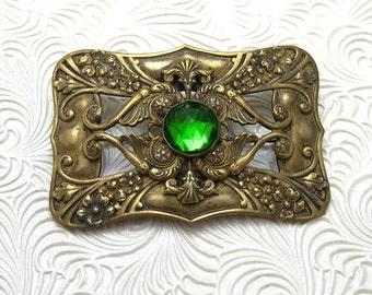 Art Nouveau Sash Pin Antique Brooch Vintage Jewelry Green P5320
