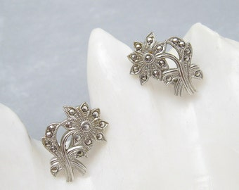 Art Deco Sterling Marcasite Daisy Flower Earrings N6264