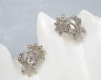 Art Deco Sterling Marcasite Daisy Flower Earrings E6264