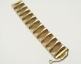 Wide Vintage Mesh Bracelet Machine Age Jewelry B6360