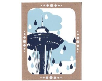 Boxed Set of Six Seattle Space Needle Rain Cards