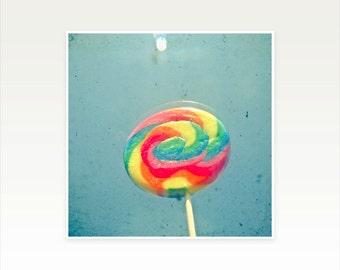 Lollipop Art, Food Photography, Nursery Art, Colorful Kids Decor, Stripes, Rainbow, Kitchen Decor - I Can Taste a Rainbow