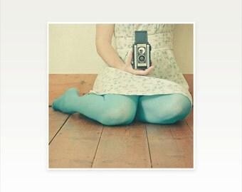 Self - Portrait Photography, Female Figure, Camera Photo, Turquoise and Cream, Teenage Decor, Mad Men, Dreamy, Spring Colours