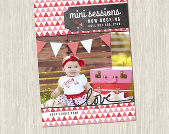 Love Valentine's Day Mini Session Marketing Card Template | Photoshop Templates for Photographers | 1 PSD File | MM9002 | Instant Download