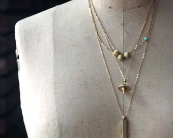Layering Necklaces, Minimal, Gold Brass, Modern Pendants, Whistle, Layered, Sparkly, Orb Pendulum
