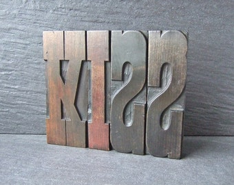 A Great Big KISS -  Vintage Letterpress Word