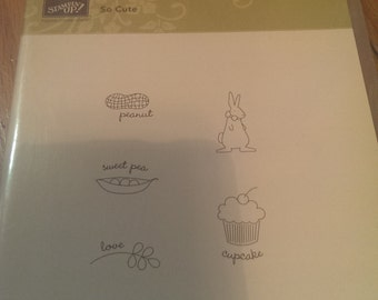 Stampin' Up Clear Mount Stamp Set of 5 - So Cute - Peanut - Sweet Pea - Cupcake - Bunny