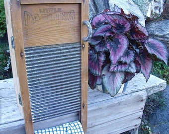 "WASHBOARD CABINET--""LiTTLe DARLING"" washboard UPcycled inTo a WaLL CaBiNeT-aWeSoMe handle + a BoNuS old wooden clothespin made into a magnet"