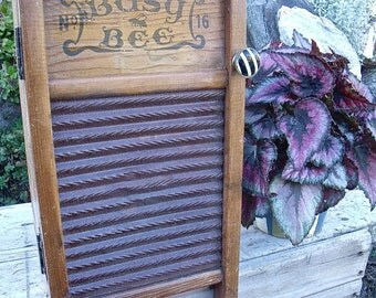 "WASHBOARD CABINET-""Busy Bee"" washboard UPcycled inTo WALL CaBiNeT w/ blk/wht KnoB-BoNuS old wooden clothespin now a magnet-Medicine CabineT"
