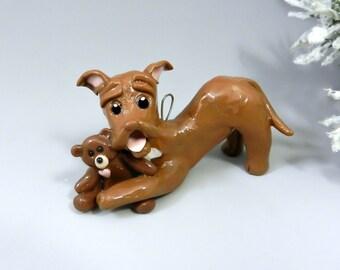 Pit Bull Terrier Christmas Ornament Teddy Bear Porcelain