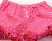 Baby Girl Bloomers pink with white dots- sizes 6 mths, 12 mths, 18 mths, 2