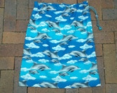 Waterproof swimming bag or library bag, dolphins, large PUL-lined drawstring bag