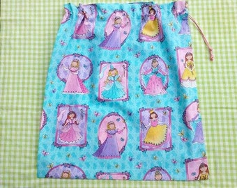 Library bag, princesses, girls aqua drawstring bag for school, toys, sheets