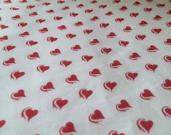 BULK FABRIC YARDAGE - Hearts! Cotton Voile Yardage - Vintage Inspired - Lightweight Cotton