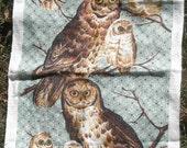 Pure Linen Owl Tea Towel