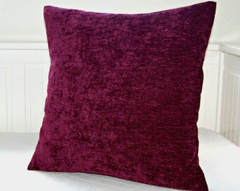 solid cushion cover grape plum accent decorative pillow cover 16 x 16  inch