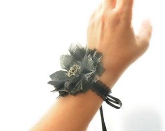wrist corsage, black flower corsage, flower cuff