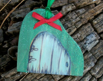Fairy Door Gift Tag or Christmas Tree Ornament 2 1/2 inches tall with a Bow and Glitter Inspired by Dali