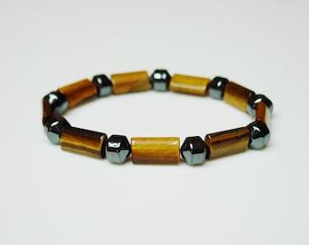 Tiger's Eye and Hematite Bracelet / Semiprecious Stones / Charcoal / Amber / Golden Tigers Eye / Hematite / Simple / Unisex / Bracelet