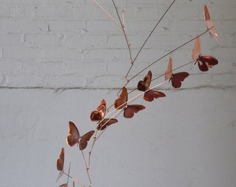 Free Shipping on Copper Butterfly Mobile Handmade Copper Mobile Fired Edge finish